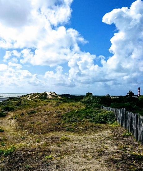 randonnée sentier dunaire avec sur le phare de berck-sur-mer dans la baie d'authie